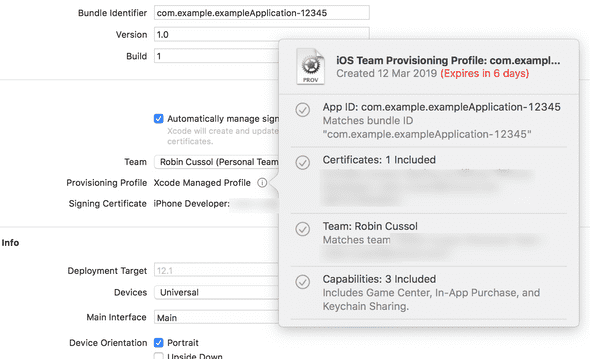Provisioning Profile in Xcode