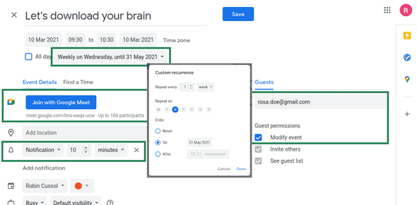 Screenshot of Google Calendar event creation with highlighted sections