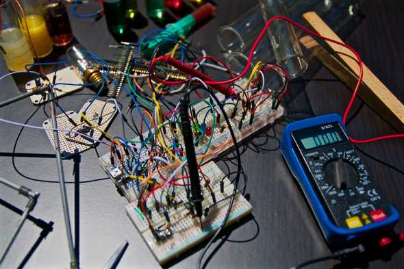 Breadboard with a forest of electric wires