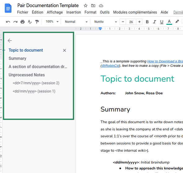 Screenshot of outline present in Google documents