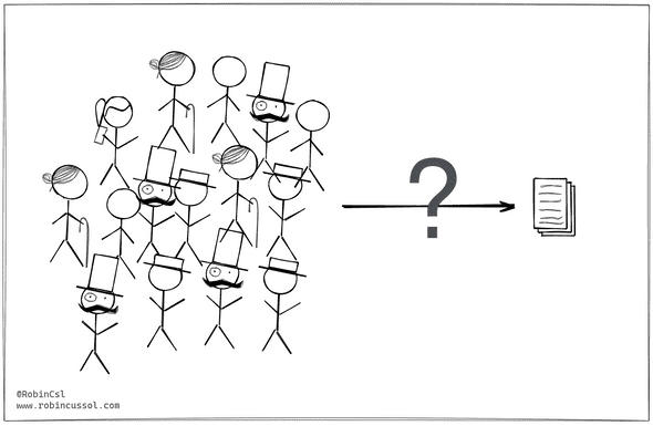 A mob of sticks figure with a question-mark-crossed arrow pointing to a stack of document