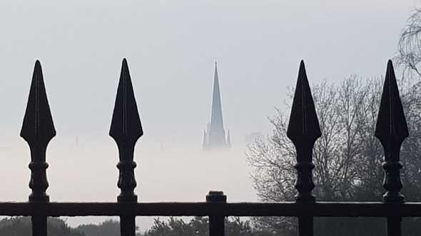 Norwich Cathedral in the mist